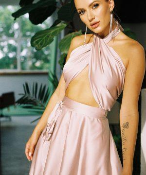 Cappuccino Color Wrap Skirt For Women Ttbfashion