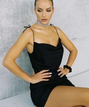 Mini Black Silky Dress