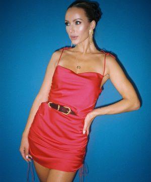 Silky Slip Dress For Women Red Top To Bottom